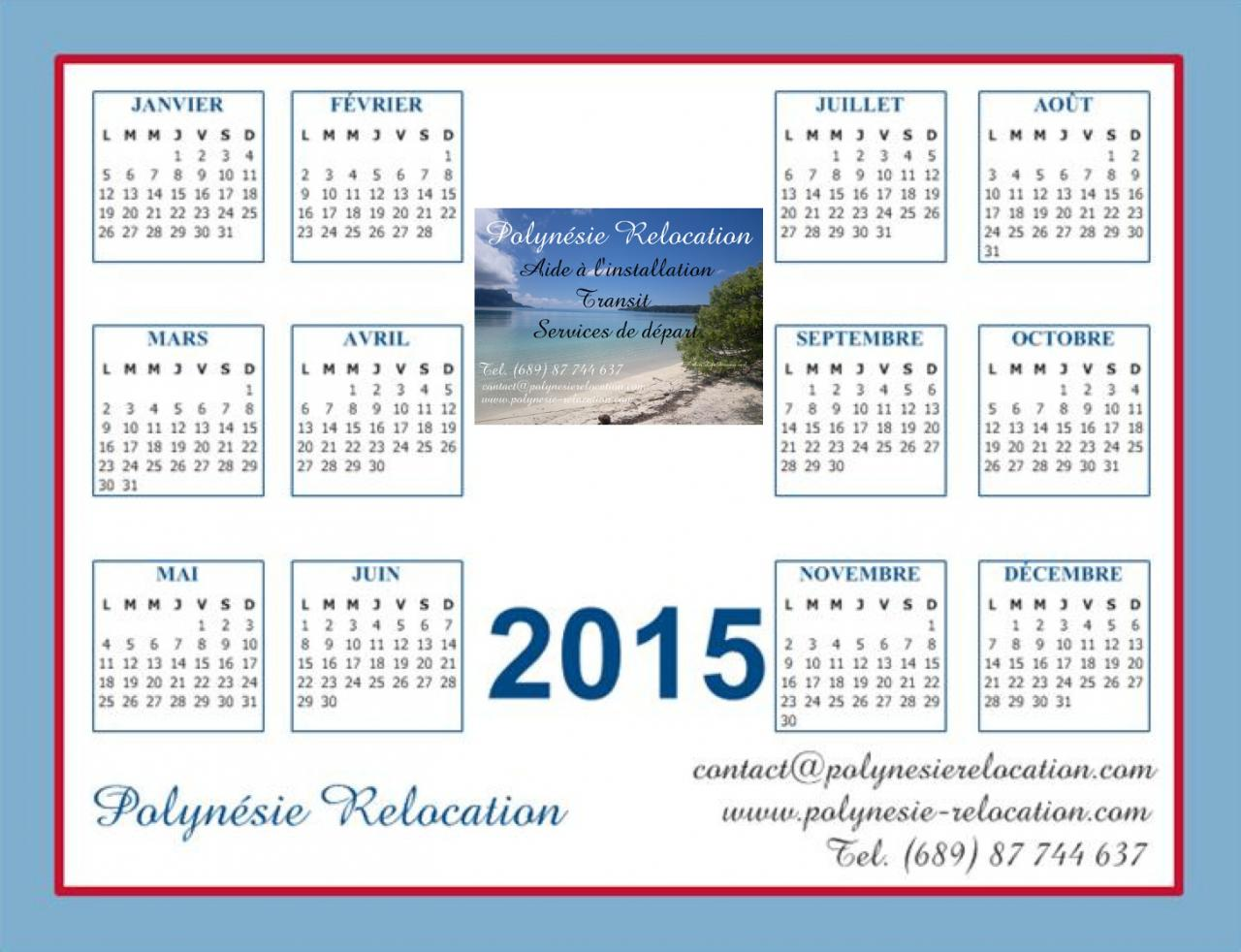 Calendrier 2015 Polynésie Relocation Tahiti